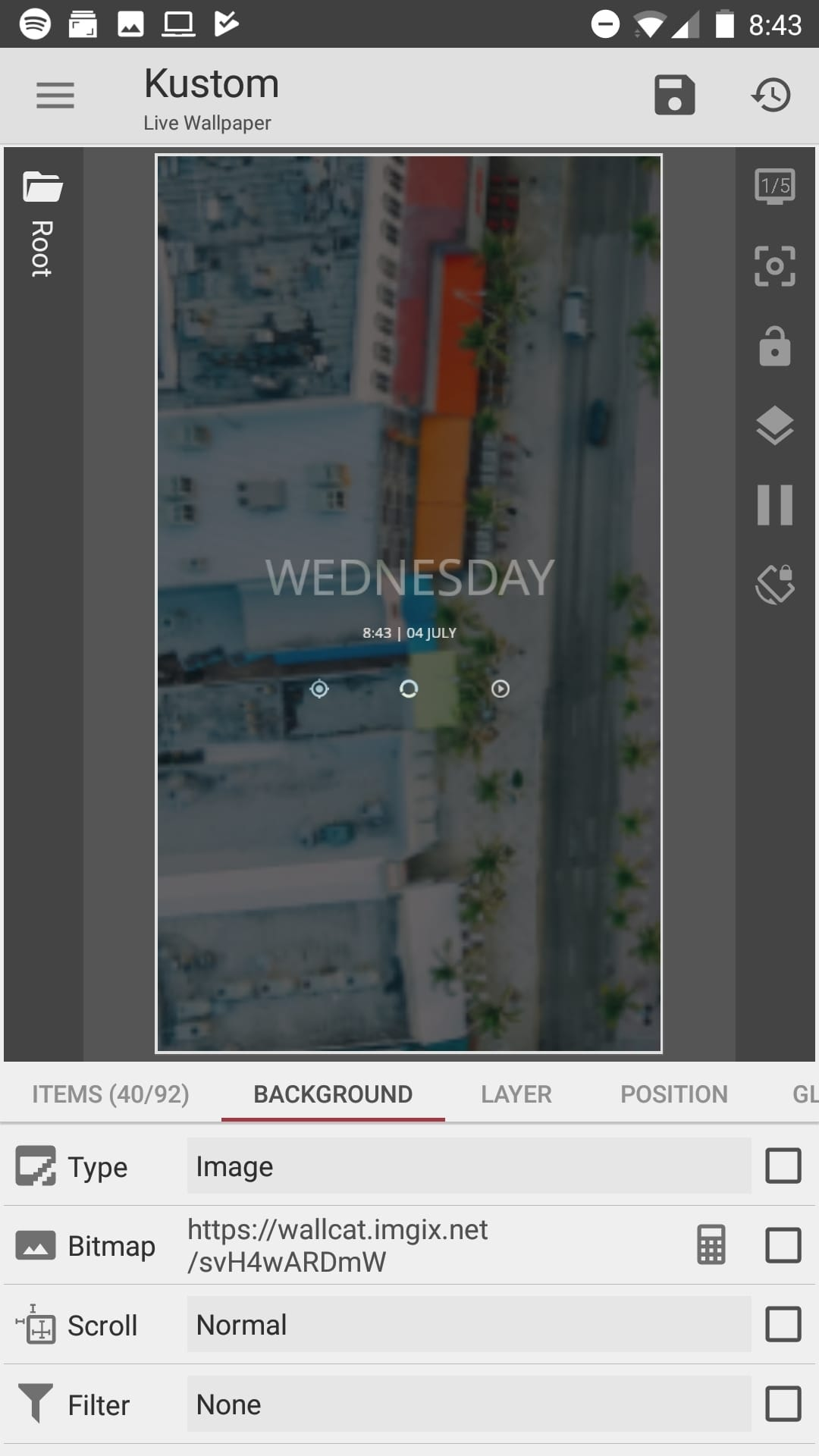 Screenshot of KWLP showing a preview of the homescreen
